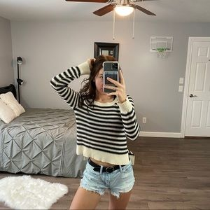 ROXY Striped Cropped Black + White Sweater